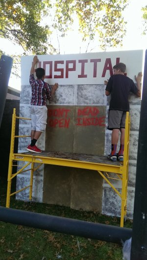 Getting the sign put up for the outside